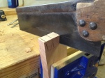 Cutting dovetails with hand saw